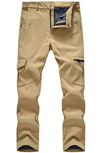 TBMPOY Men's Hiking Fleece Lined Softshell Pants Waterproof Windproof for Camping Skiing Snowboarding Khaki 32