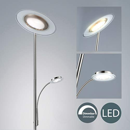 Lámpara de pie de Salon I Modernas LED I Iluminación I Níquel mate I Metal y vidrio I Regulable y orientable I 230 V I IP20 I 21 W I Altura: 1795 mm