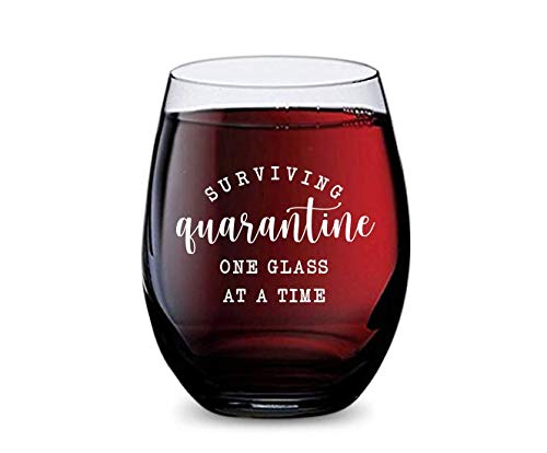 Stemless Wine Glass for Surviving Quarantine at Home Made of Unbreakable Tritan Plastic and Dishwasher Safe - 16 Ounces
