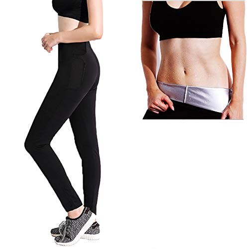 Panngu Yoga Pantalones de Sauna Adelgazantes, Leggins Anticeluliticos Cintura, Leggins Termicos de Compresion Sauna Mallas Fitness para Deporte Running Yoga Gym - Promueve Sudoración (XXL)