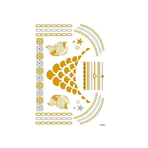 Autocollants de tatouage bronzage rétro autocollants de tatouage imperméables ensemble autocollants d'impression de couleur argent chaud-YH-063_148 * 210MM