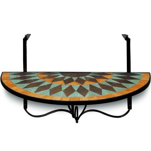 Deuba Table de Balcon Tablette Suspendue 76 x 40cm en mosaique Motif Terracotta Oriental