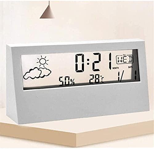 Casa Relógios de cabeceira Led Clear Weather Clock, Digital Temperatura Hygrometer Hd Display Estação Meteorológica Rádio Despertador, Previsão do tempo Weather Clock, Alarm Clock Student, White
