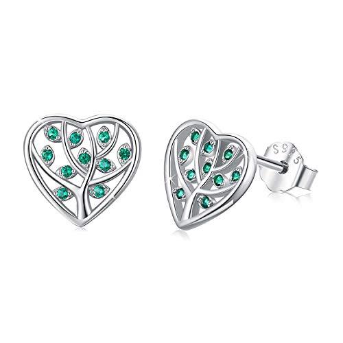 Pendientes de árbol de la vida para mujer, plata de ley 925 con forma de corazón, piedra de abedul, circonita cúbica, regalo para niñas
