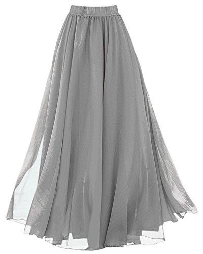 LATUD Womens Boho Summer Skirt Long Maxi Skirt, Grey, Medium
