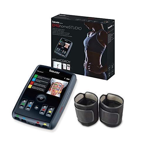 Beurer EMS homeSTUDIO Dispositivo de estimulación muscular, dispositivo de entrenamiento EMS de alta gama para uso doméstico con app y entrenador virtual, incluye manguitos y electrodos
