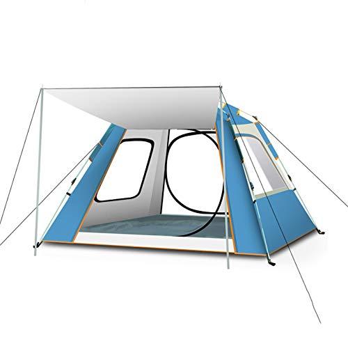 GXSB Tienda de campaña Acampada Impermeable a Prueba de Viento Tienda de la Familia con Las 4 Ventanas de Malla Grande, Doble Capa, fácil de Instalar, portátil con Bolso White Blue-Small