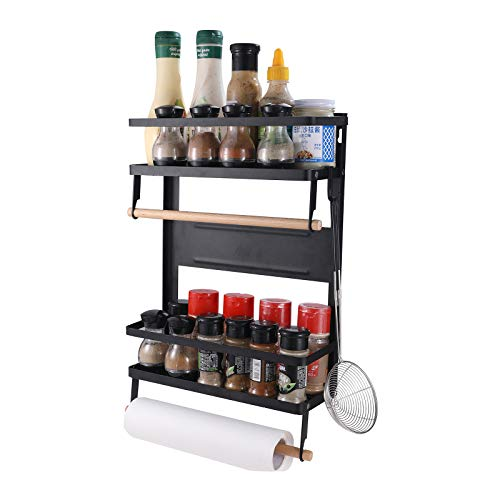 YCOCO 2 Tier Magnetic Storage ShelfSpice Racks For Fridge With Paper Towel Holder 5 Removable HooksOrganization for Home and KitchenBlack