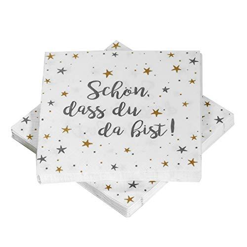 Servietten 'Sterne - Schön, dass du da bist!' - grau/gold/weiß (20 Stück)