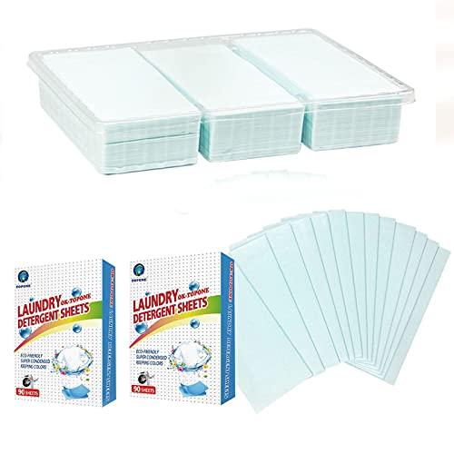 Keptfeet Hojas de detergente para Ropa Concentrado, 180 Hojas de detergente para Ropa sin líquido, Tiras de detergente para Ropa, Ideales para el hogar, Viajes y Lavado de Manos