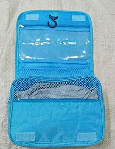 Linwei Waterproof Portable Polyester Travel Cosmetic Bag Neceser Hanging Wash Bag Neutral Make Up Bag Organizer,Sky Blue