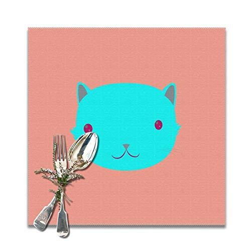 Lilyo-ltd Cat Uno waschbare rutschfeste Tischsets hitzebeständig Esstisch Platzmatten für Küche Tisch Matten, 30,5 x 30,5 cm, 6 Stück