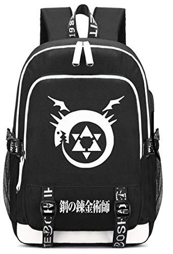 YOYOSHome-Schultertasche mit japanischem Anime-Design, für Cosplay, Büchertasche, Laptoptasche, Schulranzen mit USB-Ladeanschluss, Fullmetal Alchemist 2 (Schwarz) - yyyo3