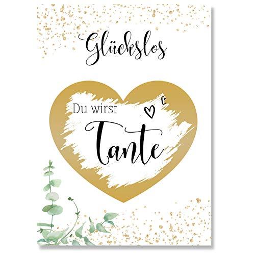 Rubbelkarte (Du wirst Tante) um Schwangerschaft zu verkünden - Goldene Karte als Geschenk für die Tante -...