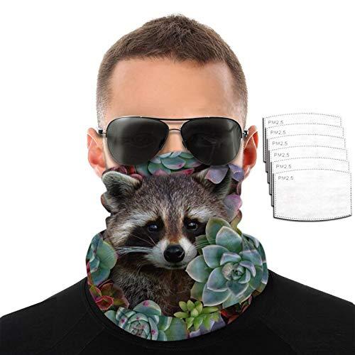 Raccoon And Succulents - Toalla facial para hombre y mujer, resistente al viento, transpirable, variedad