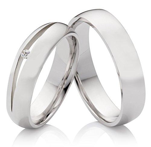 Eheringe Verlobungsringe Trauringe aus 925 Silber mit Diamant und kostenloser Gravur SPB0100