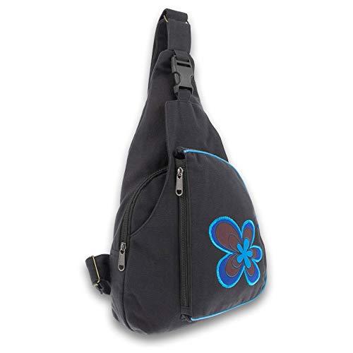 KUNST UND MAGIE Slingbag Hippie Goa Bodybag Schultertasche Flower Rucksack M, Farbe:Schwarz/Blau