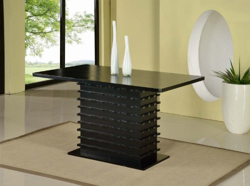 Kings Brand Black Finish Wood Wave Design Dining Room Kitchen Table