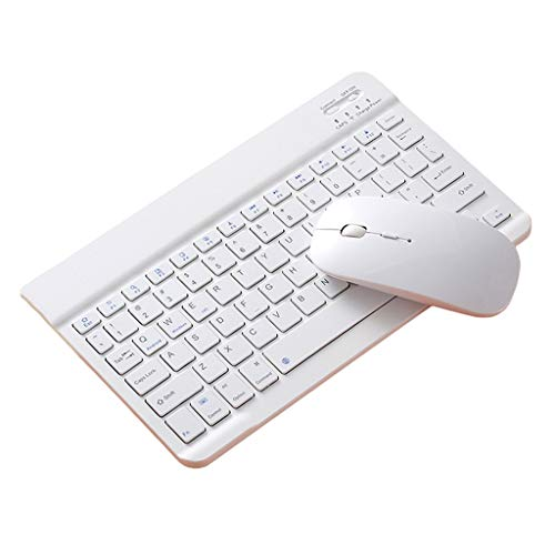 freneci Slim 2.4G Wireless 10' Keyboard And Cordless Optical Mouse Combo for IPad PC - 10 inch white