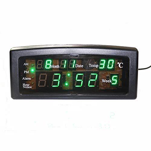 Renqian Digitale led-wekker, met kalendertemperatuur, datum en week weergave, op netstroom werkende batterij, beveiligen voor thuis, kantoor, decoratie