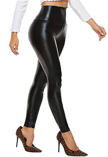 FITTOO PU Leggings Cuero Imitación Pantalón Elásticos Cintura Alta