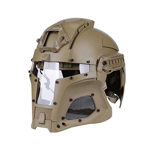 LIUBOLI Mittelalterliche Iron Warrior Helme-Outdoor Retro Helm-Paintball Schnelle Vollgesichtsmaske Kopfschutz-Einstellbarer Kopfumfang Geeignet Für Männer,Mud OneSize