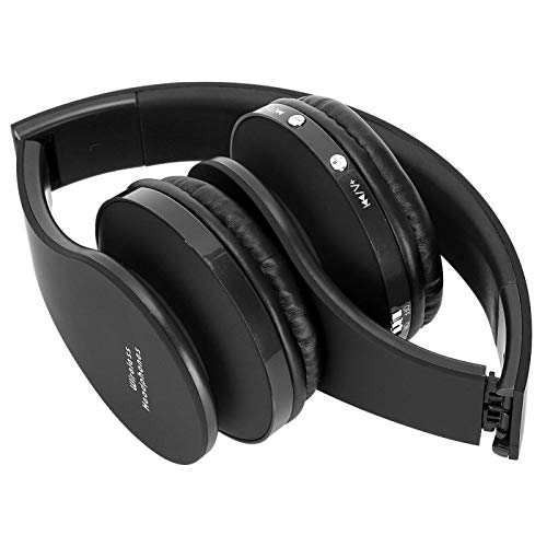 FOLOSAFENAR Soporte de Cable de Audio Auriculares Bluetooth Aspecto Elegante Auriculares Bluetooth Ligeros, para la mayoría del tamaño de la Cabeza(Black)