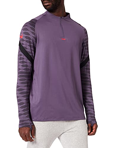 Nike Herren Dry Strike 21 Dril Sweater, Herren, Pullover, CW5858, Dark Raisin/Black/Black/Sirene, S