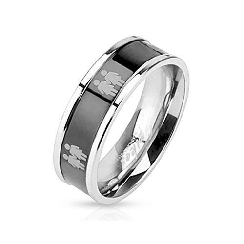 Double Lesbian Female Symbols on Steel Black IP Ring - Lesbian Pride Promise or Wedding Ring (5)
