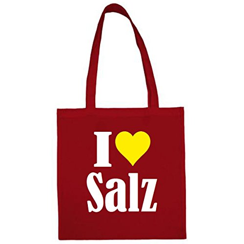 Tasche I Love Salz Größe 38x42 Farbe Rot Druck Weiss