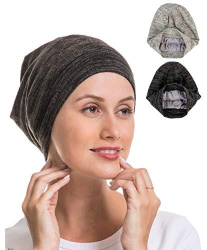 Night Sleep Cap Hat, Women Soft Slouchy Thin Beanie Bamboo Headwear Cover, Slap Satin Silk Lined Bonnet for Lady Curly Hair, Mom Grandma Best Friend Sister Wife Girlfriend Good Gift