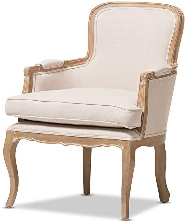 Best Baxton Studio Napoleon Traditional French Accent Chair, Oak
