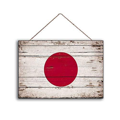 Unknow, bandera japonesa, banderas rústicas, de madera, hecho a mano, para decoración del hogar