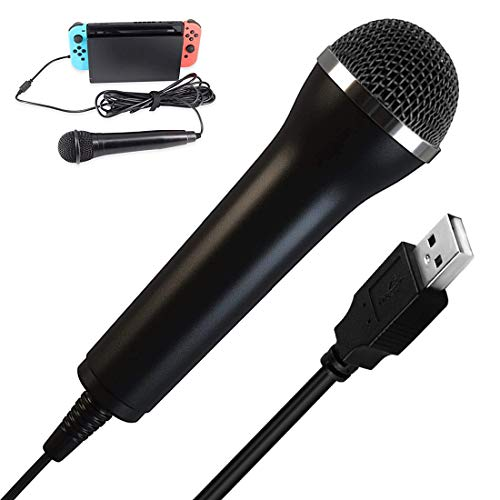 USB Mikrofon Universal Kompatibel für PC, HOTSO Nintendo Switch, Wii, PS2, PS3, PS4, Xbox, Xbox One, Karaoke Mikrofon für Spiele Guitar Hero, Rockstar, SingStar, Voice of Germany, Lets Sing, We Sing