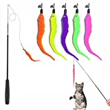 qipuneky Katzenspielzeug Angel - Katzenangel, Cat Toys, Interaktives Katzenspielzeug, mit 5 Stück Katzenangel Ersatz Wurm