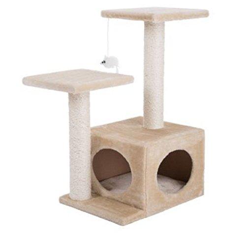 Árbol para gatos compacto de 2 niveles de color beige es un árbol de actividades resistente y perfecto para rascar, jugar, ocultar y relajarse de razas de gatos pequeños a grandes.
