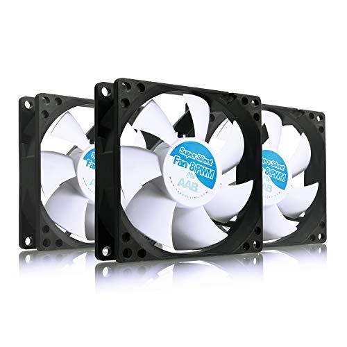 AABCOOLING Super Silent Fan 8 PWM - 80mm Ventilateur pour Boîtier PC, CPU Processeur Silencieux et Efficace avec 4 Pads Anti Vibrations, 12V, 8cm, Ventilo PC, Fan PC - 3 Pièces 9,5~17,9 DB(A)
