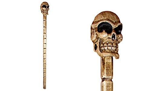 Totenkopfstab handgeschnitzt und handbemalt, Gehstock für Halloween, Kostümzubehör, Piraten, Skull, 110 cm