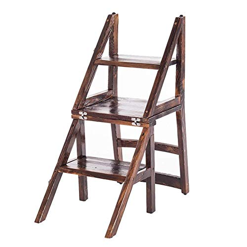 YS Silla Taburete de Doble Escalón Escalera de Mano Taburete de Madera Silla de Comedor Silla de Escalera Plegable Sillón para el Hogar Escalera de Restaurante Taburete de Color Carbonizado Suministr