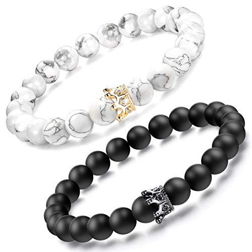 BIIB King & Queen Crown Partnerarmbänder - Partner Geschenke Freundschaftsarmband, Pärchen Armband Geschenke, Personalisierte Geschenke für Frauen oder Männer, Partner Geschenke