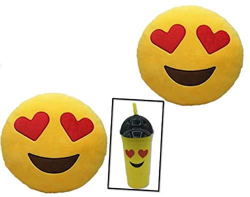 ML Pack de 3 Piezas Cojines emoticonos 2 x Cojín Emoji Ojos Corazon + un Vaso Emoticono con Pajita. Almohada Emoji Emoticon Relleno Suave Juguete de Peluche 35x35x5cm Cada uno