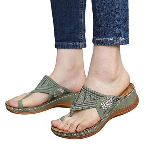 BBOOY Orthopädische Sandalen für Frauen mit Clip-Toe, Vintage-Wildleder-Peep-Toe-Stick-Keilpantoffeln Atmungsaktive Sommer-Casual-Plattform-Korrektur-Sandalen,Grün,40