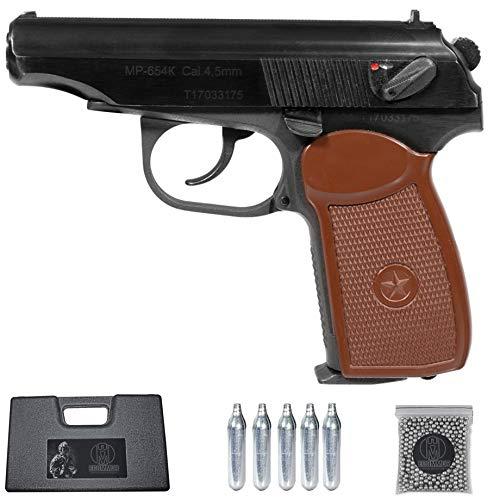 Baikal Makarov MP-654L (Brown) | Pistola de balines (bb's de Acero) y CO2 Calibre 4,5mm + maletin y balines