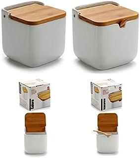 D,casa - Salero y azucarero de Cocina Blanco Basic con Tapa de Bambu, azucarero cucharita Incluido
