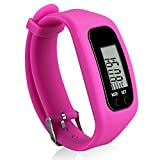 Bomxy Fitness Tracker Watch, Simply Operation Walking Running Pedometer with Calorie Burning and Steps Counting (AA4228-ROSE RED)