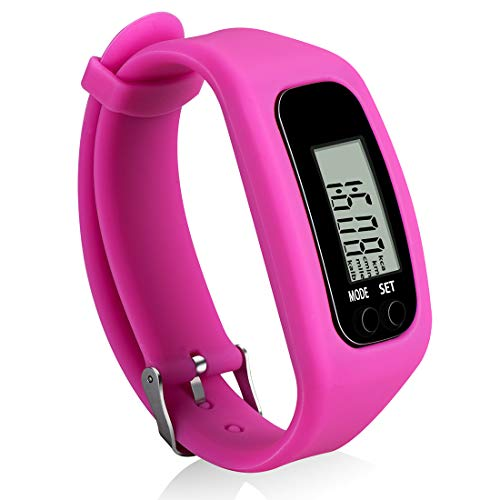 Bomxy Fitness Tracker Watch, Simply Operation Walking Running Pedometer with Calorie Burning and Steps Counting (Rose red)