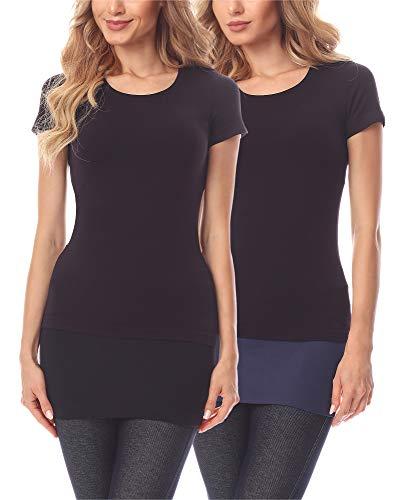 Merry Style Damen Verlängerungsgurt für Hemden T-Shirts 2 Pack MS10-202 (2Pack-Schwarz/Marineblau, 4XL)