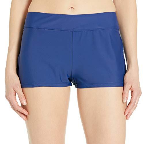 24th & Ocean Women's Elastic Band Swim Short Bikini Swimsuit Bottom, Navy, Small