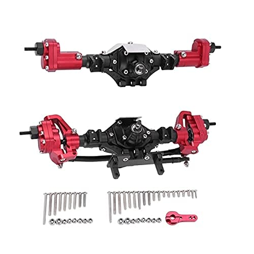 Set di asse anteriore e posteriore in metallo per 1/10 RC Rock Crawler auto per Axial SCX10 e SCX10 II 90046 90047 parti (colore : nero)