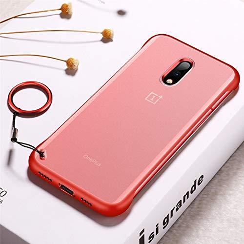 Ebogor Funda protectora para OnePlus 7, funda protectora de TPU antideslizante con anillo de metal funda funcional para teléfono (color: rojo)